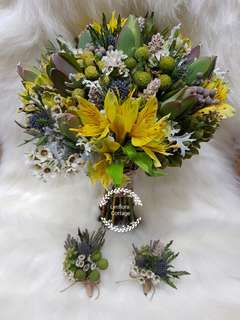 Customised bridal bouquet/Boutennairs/Corsages/Bridemaids hand piece Sets - (Wild Rustic)