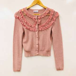 Red valentino dirty pink ruffles knit cardigan size S