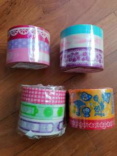 Set of 3 Washi Tapes Made in Japan Mixed Sets Lot Cat Mushroom Lace Food Labels Destash Clearance
