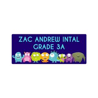 Personalized Sticker Labels (Rectangle) - Happy Monsters