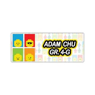 Personalized Sticker Labels (Rectangle) - Lego Colors
