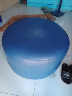 Round royal blue leather chair