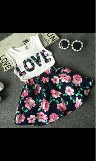 Flower Dress with Short Sleeve Tops and Skirt Set