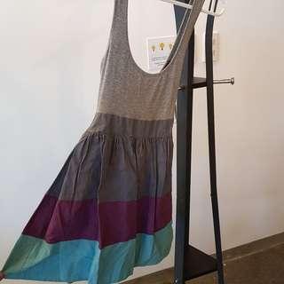 Topshop gray purple cyan skater dress with ribbon