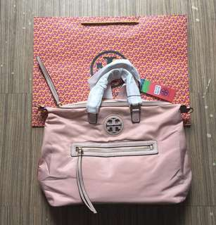 REDUCED 130 ONLY! Tory Burch Nylon Hand Bag- Dusty Pink
