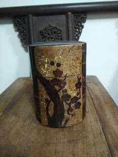 銅件貼櫻花木老茶倉
