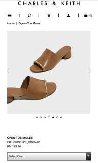 charles and keith Open Toe Mules