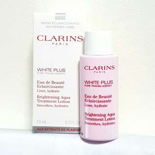 CLARINS White Plus Brightening Aqua Treatment Lotion - Smoothes/Hydrates 10ml