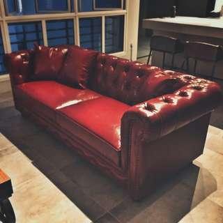 Customized Button leather / PU leather Sofa