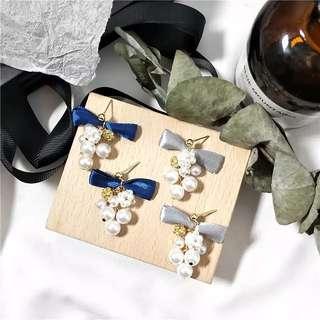 韓國現貨緞帶蝴蝶結珍珠串耳環/耳夾