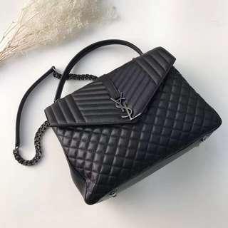 YSL Leather Black Tri  quilted shoulder chain bag
