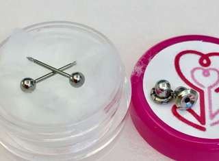 Ear piercing earrings USA kids baby adult 3mm titanium Inverness USA