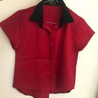 maroon crop shirt