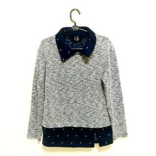 Made in Korea 正韓假兩件毛衣 冬季出清 氣質點點亮灰造型毛衣