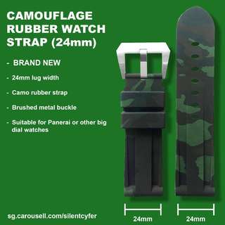 BRAND NEW 24mm Camo Dark Green Rubber Watch Strap for Panerai