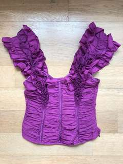 bebe ruffle top - purple