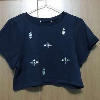 Cotton Navy Blue Structured Square Crop Top