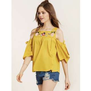 Mustard Cold Shoulder Embroidery Top #rayaletgo
