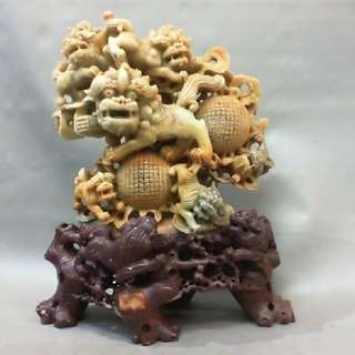 壽山石巧雕擺件-高度約25.5cm