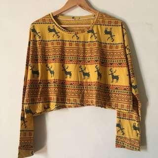 crop top motif tribal rusa