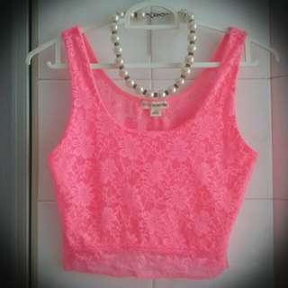 Pink Lace CropTop