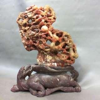 焓紅壽山石巧雕擺件-高度約25cm
