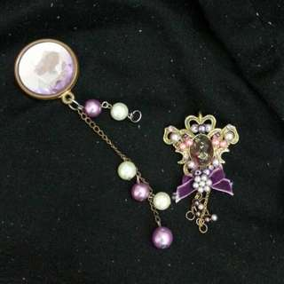 British Style Purple Brooch with beads [Postage Inc]
