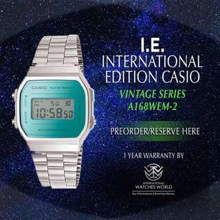 CASIO INTERNATIONAL EDITION VINTAGE SERIES MIRROR FINISH FACE A168WEM-2