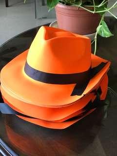 Orange plastic hats - have 12 in stock