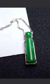 🍍18K White Gold - Grade A 冰糯 Green Jadeite Jade Trendy Pendant Necklace🍀