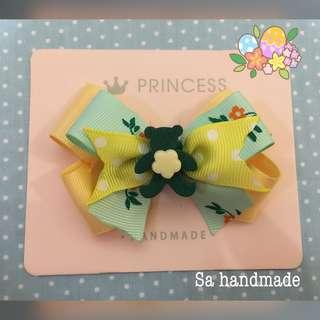 Handmade hair accessories 粉綠粉黃熊仔蝴蝶結髪飾