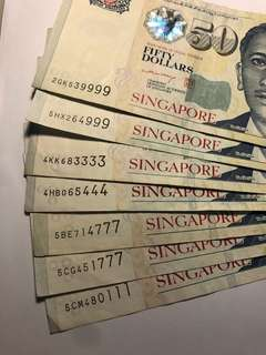 7 pcs of Singapore Portraits $50 fancy serial number circulated notes
