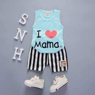 I Love Mama Boy's Singlet with Pants 9 - 12 Months