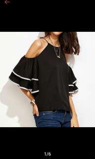 Off shoulder Bell sleeves loose blouse.PO