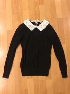 Review knit with jeweled collar