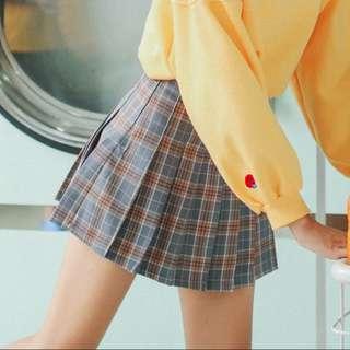 學院風高腰百摺裙