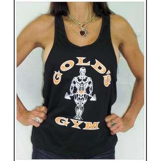GOLDS GYM BLACK WORKOUT SINGLET MENS S NEW stringer gym
