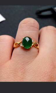 🌹18K Gold - Grade A 水润 Full Green Cabochon Jadeite Jade Ring🍍