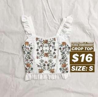 kissablebella fredii floral embroidered crop top