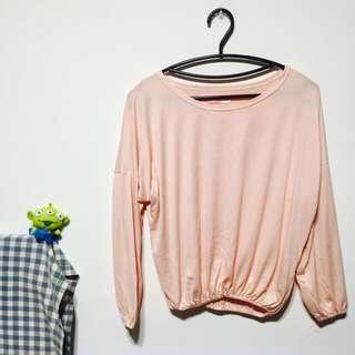 🚚 粉紅色縮腰素色單品薄長袖上衣
