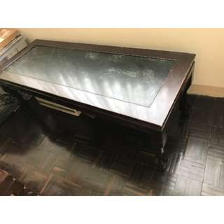 早期古董鑲大理石實木長桌
