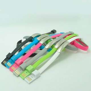 USB Bracelet Cable for Iphone and Android assorted color
