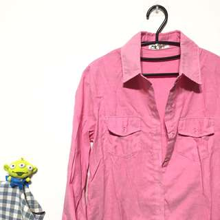 🚚 粉紅色棉質襯衫外套