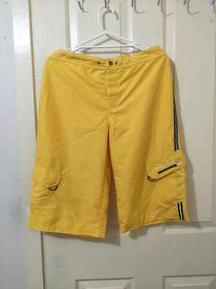 Yellow knee length shorts