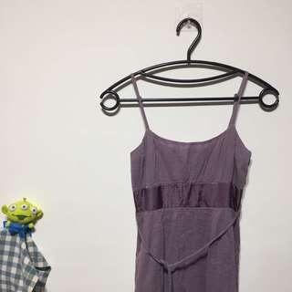 🚚 芋頭紫色細肩帶小洋裝可綁帶伴娘婚禮