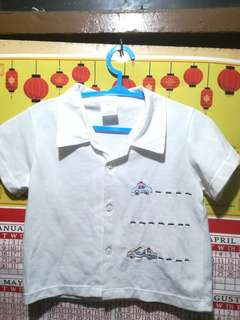 🔴REDUCED PRICE 75PHP White polo shirt with cars as design.