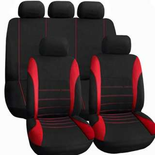 Universal FULL Car Seat Cover Set 9Pcs blk/red