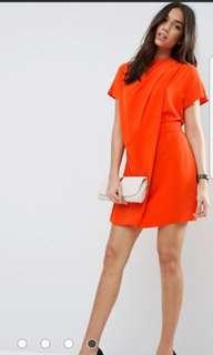 Asos drape front side tab dress in tangerine
