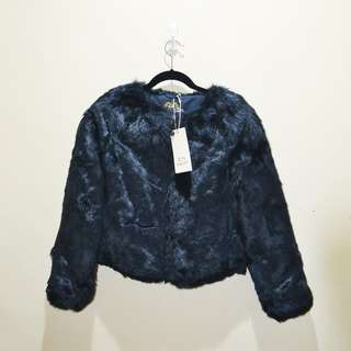Faux Fur Navy Blue Coat Size 38 New with Tag