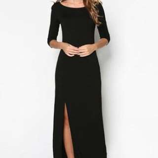 Zalora Maxi Dress Black with Slit